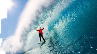 Elizabeth Warren surfing blue wave