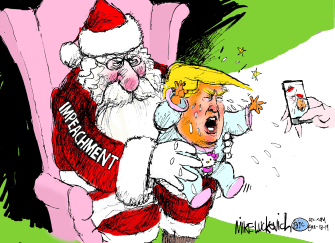 Political Cartoon U.S. Trump Impeachment Santa Baby