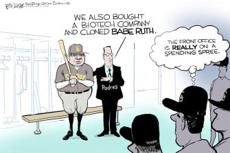 Editorial Cartoon U.S. san diego padres babe ruth
