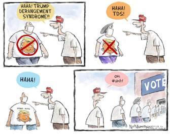 Political Cartoon U.S. Trump supporter voting 2020