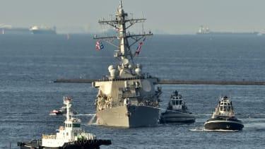 The damaged USS Fitzgerald
