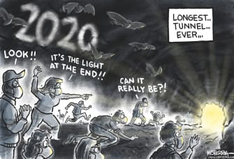 Editorial Cartoon U.S. 2020 Light at the End of the Tunnel New Year 2021