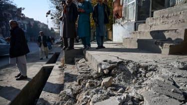 Kabul rocket strike aftermath.