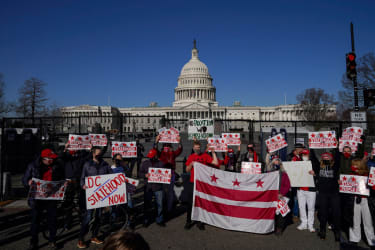 Residents of the District of Columbia rally for statehood near the U.S. Capitol on March 22, 2021 in Washington, DC