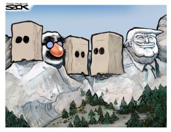 Political Cartoon U.S. President Trump Mount Rushmore Washington Lincoln RooseveltJefferson