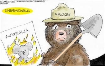Editorial Cartoon World Australia Fires Smokey The Bear