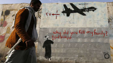 Graffiti denouncing U.S. drone strikes in Yemen.