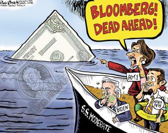 Political Cartoon U.S. Michael Bloomberg Joe Biden Amy Klobuchar moderates centrist dems boat money democratic race