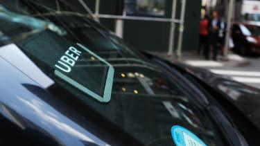 An Uber car waits in NYC