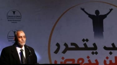Egypt's Muslim Brotherhood leader Mohammed Badie speaks during a post-revolution celebration.
