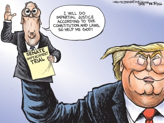 Political Cartoon U.S. Senate Impeachment Trial Trump McConnell Hand Puppet