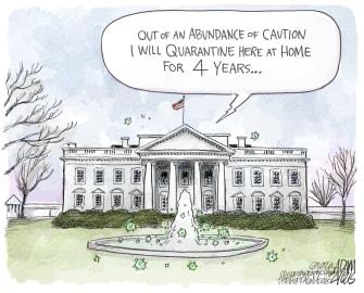 Political Cartoon U.S. Trump White House COVID