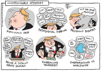 Political Cartoon U.S. Trump Benjamin Netanyahu Kim Jong-un impeachment trial bigotry lying hair