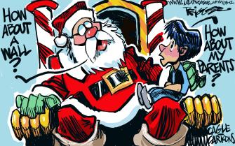 Editorial Cartoon U.S. Santa Lap Separated Child Wants Parents Border Wall