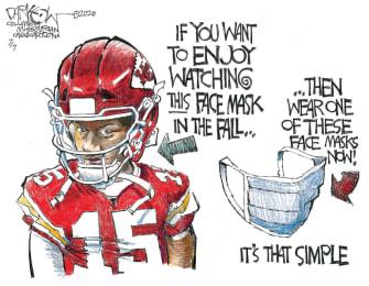 Editorial Cartoon U.S. NFL coronavirus masks Patrick Mahomes