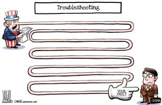 Political Cartoon World Trump China Uncle Sam troubleshooting blame