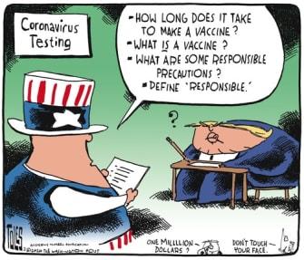 Political Cartoon U.S. coronavirus testing Uncle Sam vaccine no responsibility