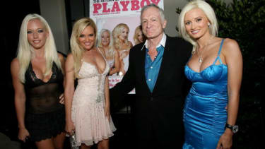 Hugh Hefner with The Girls Next Door.