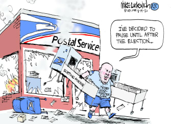 Political Cartoon U.S. USPS DeJoy election
