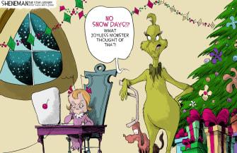Editorial Cartoon U.S. Grinch snow days remote learning