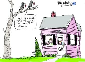 Political Cartoon U.S. Georgia lockdown governor Kemp coronavirus