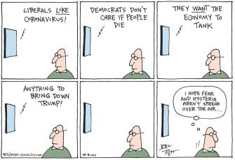 PoliticalCartoon U.S. media hysteria liberals coronavirus economy dems Trump