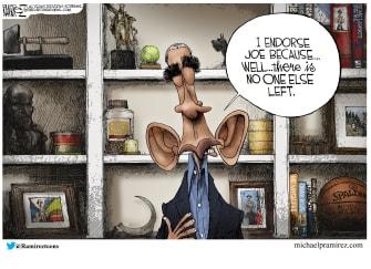 Political Cartoon U.S. Barack Obama Biden endorsement