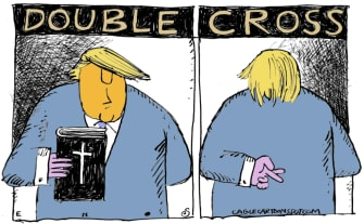 Political Cartoon U.S. Trump Bible photo op