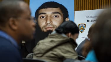 A photo of Sayfullo Saipov displayed at a news conference.