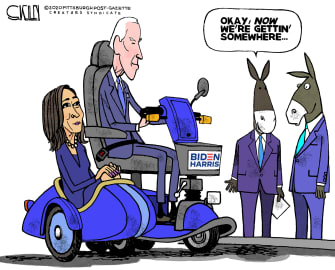 Political Cartoon U.S. Kamala Harris Joe Biden Boost 2020 Democratic Campaign