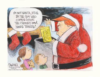 Political Cartoon U.S. Trump Santa Takes Food Stamps Kids