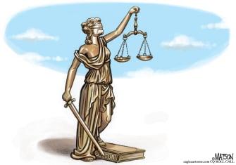 Political Cartoon U.S. Trump Impeachment blind justice Bolton manuscript