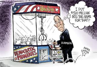 Political Cartoon U.S. claw machine Bloomberg drops out American Samoa prize
