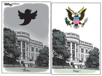 Political Cartoon U.S. Trump Twitter Biden