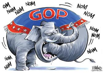 Political Cartoon U.S. GOP eating itself