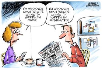 Editorial Cartoon U.S. 2020 new year worries