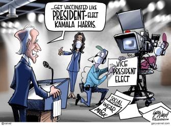 Political Cartoon U.S. Biden Harris presidency COVID vaccine