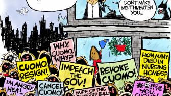 Political Cartoon U.S. cuomo cruz nursing home deaths