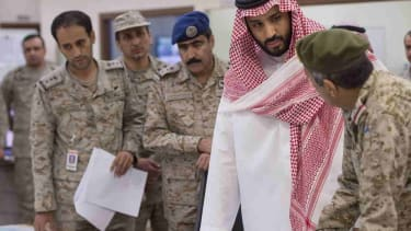 Saudi defense minister and and military officers