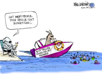 Political Cartoon U.S. gop democrats covid stimulus