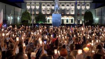 Protestors in Warsaw, Poland.