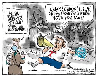 Political Cartoon U.S. Trump racial unrest