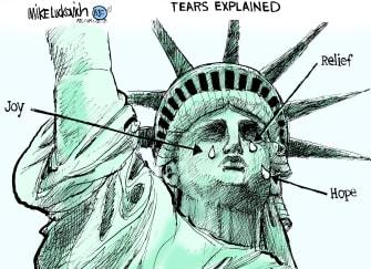 Political Cartoon U.S. Biden Statue of Liberty