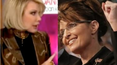 """Joan Rivers and Sarah Palin: Rivers says her scheduled """"Fox & Friends"""" appearance was scrapped because she had made anti-Palin remarks."""
