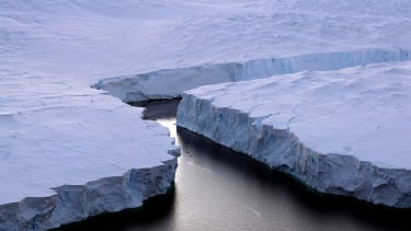Iceberg breaking off of Antarctica.