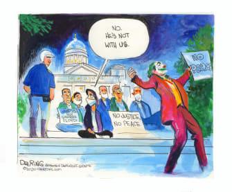 Editorial Cartoon U.S. George Floyd protests Joker