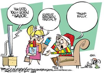 Political Cartoon U.S. Charlie Brown Christmas Special Trump Rally
