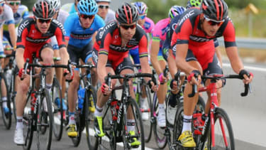 The German team leads during stage one of the 2013 Tour de France on June 29 in Bastia, France.