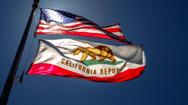 The American flag and California state flag.