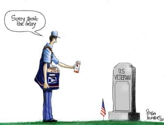 Editorial Cartoon U.S. veteran prescription drugs USPS delay